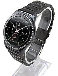 Cuitan 30mm Acero Inoxidable Correa de Reloj para Samsung Galaxy Gear S2 Classic Smart Watch (No se Incluyen los Relojes), Sólido Banda Reemplazo Watchband Strap para Samsung Gear S2 Classic - Negro