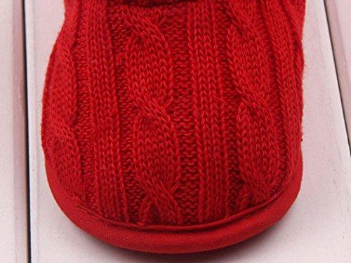 Minetom Bébé Crochet Tricot Bottines Petits Filles Laine Neige Crib Chaussures Bottines de premier pas Chaud Hiver Chaussons Rouge