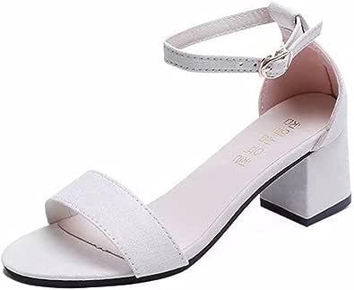 Sandali estivi da donna Sandali casual tinta unita in pelle scamosciata alla moda con tacco largo Sandali da spiaggia comodi da passeggio quotidiano