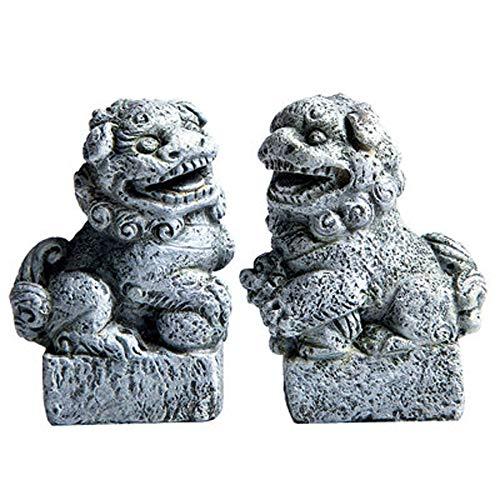 LINGS EIN Paar Pekinger Löwenpaare Fu FOO Dogs Statuen, Resin Guardian, chinesisches Feng Shui-Dekor, für Heim und Büro, ziehen Wohlstand und viel Glück an - Outdoor-löwen-statuen