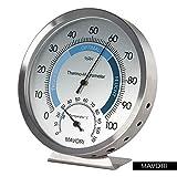 MAVORI Premium Thermo-Hygrometer aus hochwertigem Edelstahl mit analoger Anzeige zur verlässlichen Raumklima Kontrolle