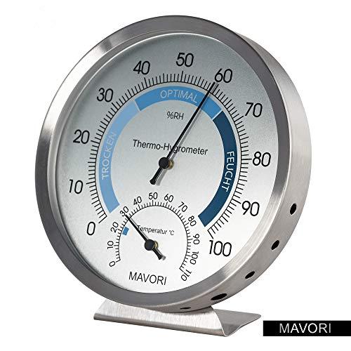 MAVORI Premium Hygrometer mit Thermometer aus hochwertigem Edelstahl mit analoger Anzeige zur...