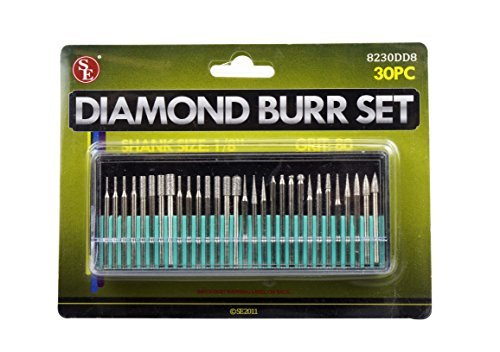 SE 8230DD8 30-Piece Set of Assorted Diamond Burrs, 80 Grit by SE