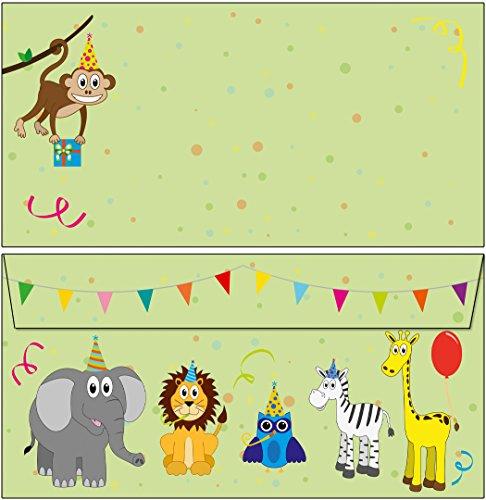 25 Briefumschläge bunte Tiere - Safari DIN lang ohne Fenster 63335 (Einladungen Safari-geburtstags-party)