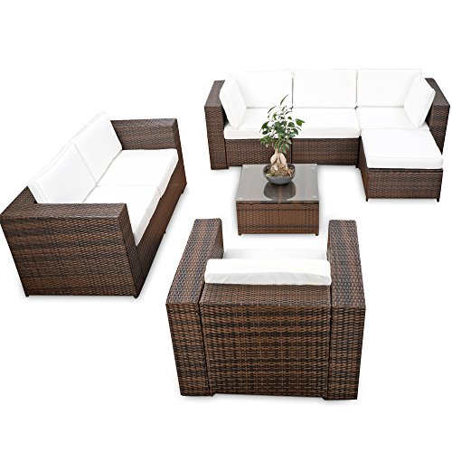 XINRO erweiterbares 23tlg. Polyrattan Lounge Möbel Set Ecksofa - Braun-Mix - Sitzgruppe Garnitur...