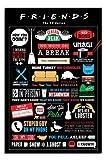 Friends Poster, Tv-Serie Infografik, mit englischer Beschriftung, laminiert, Matt, 91,5 x 61cms (91 x 61 cm)