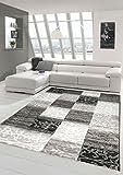 Designer Teppich Moderner Teppich Wohnzimmer Teppich Kurzflor Teppich mit Konturenschnitt Karo Muster Schwarz Weiß Grau Größe 120x170 cm