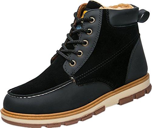 Scarpe Stivali Da Uomo Scarpe Tacco Alto Scarpe Stringate Flat Ankle Boots Nere