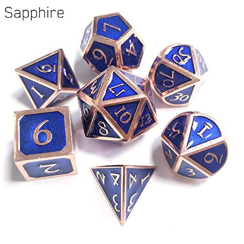 Purplert dadi poliedrici 7 pezzi, dadi in metallo in lega di zinco set dungeons rpg draghi pathfinder dnd rpg mtg d20 d12 d10 d8 d6 d4 gioco da tavolo imitazione dadi di smalto lucido oro