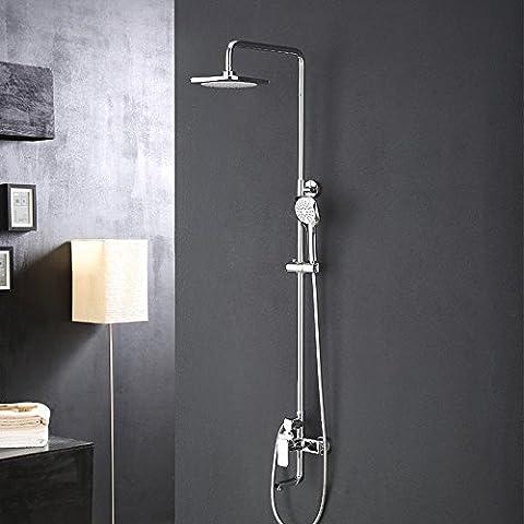 saejj-quality Badezimmer Dusche Set, Kupfer mit verstellbarem Dusche Player, Multifunktions-Quadratische Kopfbrause Handbrause, 3Wasser Tasten