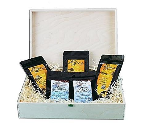 Edles Und Hochwertiges Geschenkset - Fünf Exklusive Kaffeeraritäten Inkl. Kopi Luwak (Katzenkaffee Von Freilebenden Tieren) - Ganze Bohne - Spitzenkaffee - Premiumkaffee - Schonend Und Frisch
