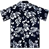 Funky Hawaiihemd, Hibiskus, blau, S