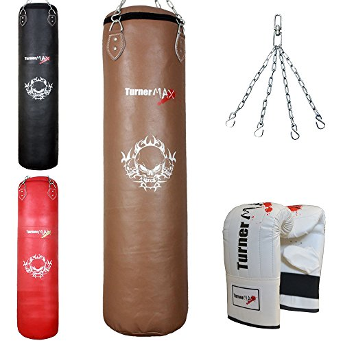 TurnerMAX Genuine Cowhide Leather Boxing Punch Bag Heavy FILLED with Free Chain and Bag Gloves Kickboxing punching bag Natural (5 Feet)