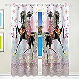 BONIPE Rosa Fee Schmetterling Mädchen Floral Pferd Gardinen Verdunklungsvorhänge Tülle Fenster Behandlung Fall Wohnzimmer Schlafzimmer Home Decor 139,7x 213,4cm, 2Platten Set