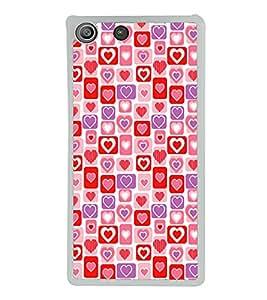 Hearts Pattern 2D Hard Polycarbonate Designer Back Case Cover for Sony Xperia M5 Dual :: Sony Xperia M5 E5633 E5643 E5663
