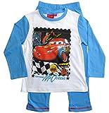 Cars Disney 3 Schlafanzug Jungen Lang Lightning McQueen (128, Weiß-Blau)