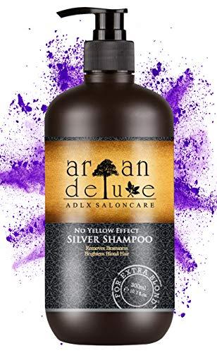 Argan Deluxe Silber-Shampoo in Friseur-Qualität 300 ml - effektive Hilfe bei Gelbstich durch NoYellow-Effekt