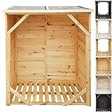 proheim Kaminholzregal XXL 162 x 128 x 72 cm Brennholzregal mit 1,15m³ Volumen Kaminholzunterstand Bitumen beschichtetes Dach und 100% FSC Holz, Ausführung:mit Rückwand, Farbe:Natur