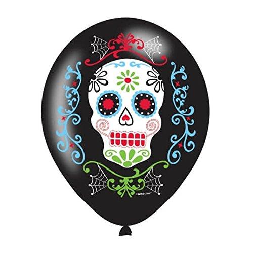 Sugar-Skull-Ballons Tag der Toten Deko 6 Stück schwarz-bunt Einheitsgröße