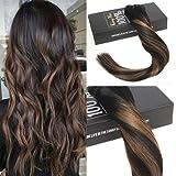Sunny 7pcs/120g Clip de Extensiones Pelo Natural Balayage Marron Color Remy Hair Extension Clip in Cabello Humano 14'/35cm