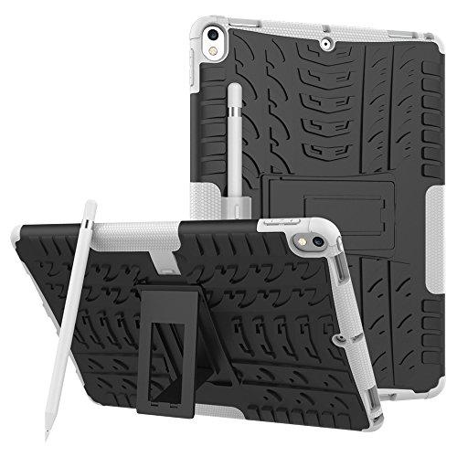iPad Pro 10.5Fall, Tina stoßfest Dual Layer Hard PC + Silikon Hybrid schlagfest Defender Full Body Schutzhülle mit Kickstand für Apple iPad Pro 26,7cm 2017Modell weiß Zebra Design Pc