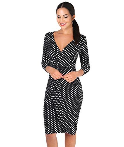 6487-BLK-10: Punkte Kreuzender V-Ausschnitt Jersey Kleid (Schwarz, Gr.38) (Wrap Geraffte)