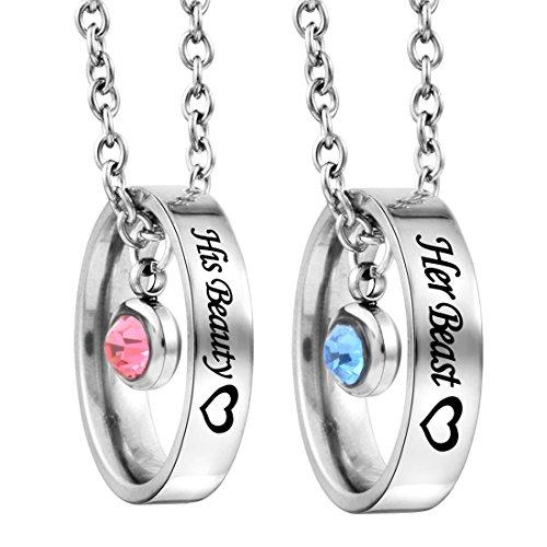 MJartoria Damen Halskette Silber Farbe CZ Kristall Edelstahl Titan Anhänger Gravur Partnerketten 2 Stück 45cm