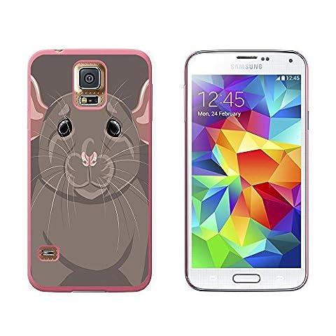 Rat Dumbo Fancy Pet–Gris souris–Coque de protection rigide à clipser pour Samsung Galaxy S5–Rose