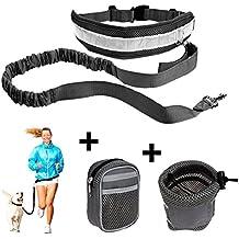 CUGLB Manos libres trotar caminar ajustable de Poliéster mascotas perro Collar correa La bolsa de teléfono/ corriendo cintura cinturón (Negro)