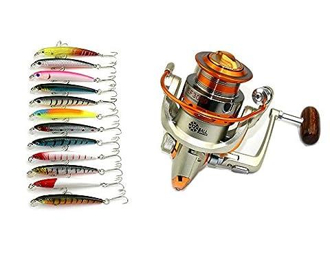 hengjia Spinning Moulinet de pêche avec Minnow Leurre 3000series 5.5: 1bobine en aluminium 12BB Moulinet à frein