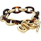 Michael Kors MKJ1675710 Women's Bracelet Plastic Gold-Plated Metal IP-Gold Acetate Brown 22 cm