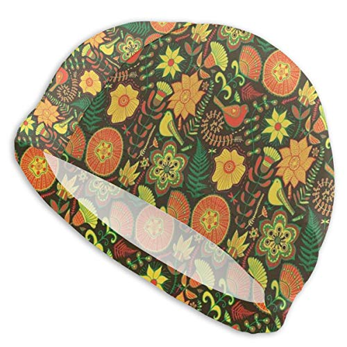 GUUi Swimming Cap Elastic Swimming Hat Diving Caps,Ornamental Nature Wildlife Pattern with Birds and Summer Flowers Scroll Art Design,for Men Women Youths -