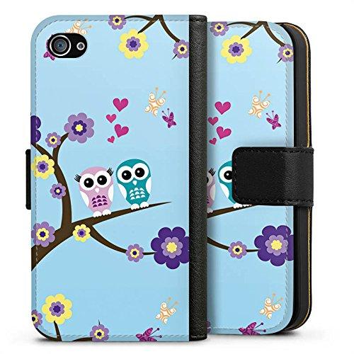 Apple iPhone X Silikon Hülle Case Schutzhülle Eule Blumen Liebe Sideflip Tasche schwarz
