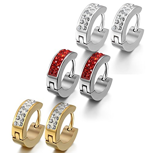 Oidea 4mm Earrings for Men Women Stainless Steel Round Mosaic Rhinestone Silver Red Gold (3 Pairs)
