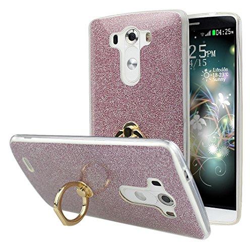 Coque LG G3 D855 avec Bague Support, Moon mood® 2in1 Hybrid Case Silicone Transparent avec Détachable Bling Paper Housse Etui pour LG G3 Coque Paillette Glitter Sparkle Briller Étui