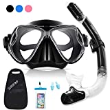 Supertrip Snorkel Set Adults and Youth-Impact Resistant Tempered Glass Scuba Diving Mask Goggles