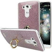 LGG3 Fundas, LG G3 Carcasas Silicona, LG G3 Back Case Cover, Moon mood® Suave de TPU + Papel Brillo Hybrid 2 in 1 Bling TPU Silicona Protectora Funda LG G3 D858 5.5 pulgadas Trasero Caso Cubierta Resistente a las Rayaduras Blanda Concha Capas Caja de Teléfono Cáscara con 360 Rotación Anillo Stick Teléfono Grip Soporte Función Trasera Funda Soft Shell Phone Bumper para LG G3 (No para LG G3 Mini)