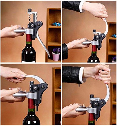 Cooko Kit de Abridor de Vino, Acero Inoxidable Rojo Vino Cerveza Abrebotellas Sacacorchos de Alas, Vino Aireador, Termómetro, Tapón, y Set de Accesorios Para con Oscuro Madera de Cerezo caso - 9 Piezas - 5