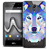 Caseink - Coque Housse Etui pour Wiko Tommy 2 (5) [Crystal Gel HD Polygon Series Animal - Souple - Ultra Fin - Imprimé en France] Loup