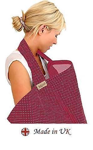 BébéChic * 100% Coton de qualité supérieure * Couvertures d'allaitement * Vêtements d'allaitement avec armatures – avec sac de rangement - rouge vin / pois blancs