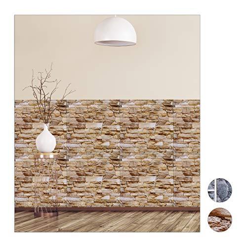 relaxdays Paneles Pared Autoadhesivos, Pack de 5, Imitación Piedra 3D, Revestimiento Decorativo,...