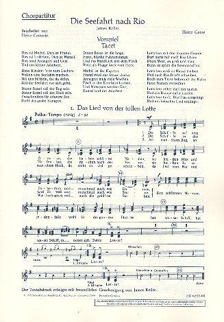 Die Seefahrt nach Rio: Szenische Kantate mit Versen von James Krüss. Kinderchor 3-stimmig, Sprecher, Klavier oder Akkordeon und andere Instrumente ad ... Bassgitarre, Schlagzeug). Chorpartitur.