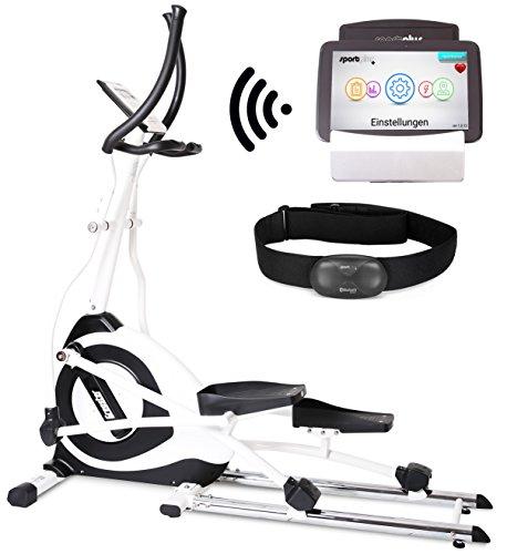 SportPlus Crosstrainer/Ellipsentrainer Ergometer mit APP Steuerung + Google Street View, inkl. Bluetooth Brustgurt (nur für kurze Zeit!), 19 kg Schwungmasse, 5,5´´ Farbdiplay, int. Tablethalterung, Benutzergewicht bis 150 kg, SP-ET-7000-iE