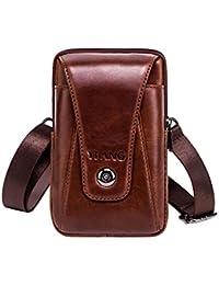 Funda Vertical de piel, estilo cinturón, bolso, de cintura–PAWACA, funda para el móvil, pequeña, de viaje, para Hombres, Niños (marrón)