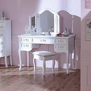 pays blanc range antik wei schminktisch schreibtisch mit dreifach spiegel. Black Bedroom Furniture Sets. Home Design Ideas