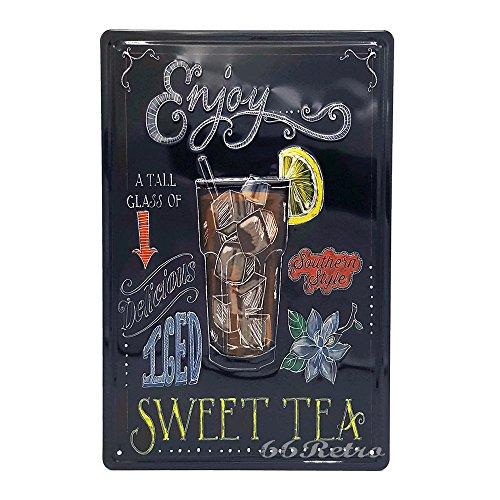 Genießen Sweet Tee, Retro geprägt Metall blechschild, Wand Deko Schild (Herz Tee Hund)