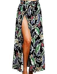 CANDLLY Faldas de Fiesta Mujeres Elegante Playa Maxi Faldas de Flores Sexy  Faldas Largas Vestido de df657ea3c41f