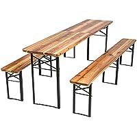 TecTake Conjunto de muebles mesa y bancos para cervecería en carpa al aire libre madera – 3 piezas - Mesa: aprox. 219 x 50,5 x 77,5 cm - Banco: aprox. 219 x 25 x 47,5 cm Plegable