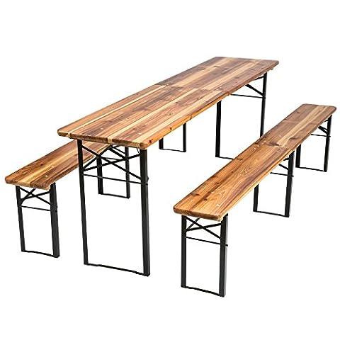 TecTake Meuble de jardin de fête table et bancs bois terasse brasserie pliable bar -diverses modèles- (Type 3 | no. 402189)