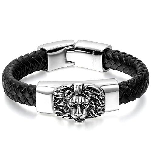 JewelryWe Schmuck Herren Armband, Gotik Löwe Geflochten Charms Armreif, Echtleder Leder Edelstahl,...